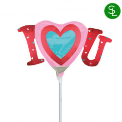 I HEART YOU SATIN MINI SHAPE A30 INFLATED WITH CUP & STICK