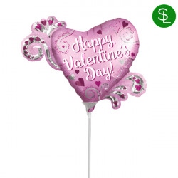 HEART SATIN HAPPY VALENTINE'S DAY MINI SHAPE A30 INFLATED WITH CUP & STICK