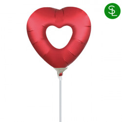 OPEN HEART SANGRIA SATIN MINI SHAPE A30 INFLATED WITH CUP & STICK