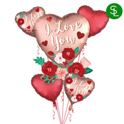 HEART WITH FLOWERS SATIN 5 BALLOON BOUQUET P75 PKT (3CT)