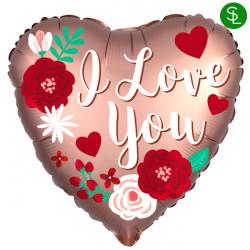 ROSE COPPER SATIN LOVE YOU STANDARD S40 PKT