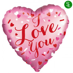 CONFETTI HEARTS SATIN LOVE YOU STANDARD S40 PKT