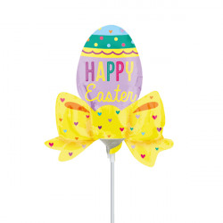 EASTER EGG WITH BOW MINI SHAPE A30 INFLATED WITH CUP & STICK
