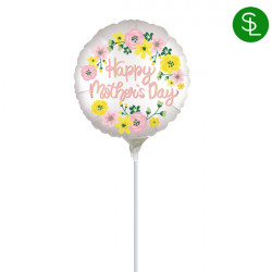 """SPRING FLORAL MOTHER'S DAY 9"""" A15 INFLATED WITH CUP & STICK"""
