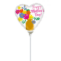 "GOLD VASE MOTHER'S DAY 9"" A15 INFLATED WITH CUP & STICK"