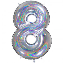 "GLITTER HOLO SILVER NUMBER 8 SHAPE 40"" PKT"