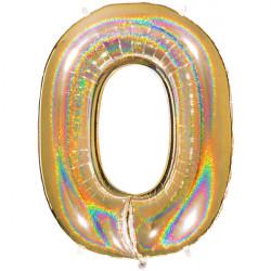 "GLITTER HOLO GOLD NUMBER 0 SHAPE 40"" PKT"