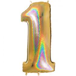 "GLITTER HOLO GOLD NUMBER 1 SHAPE 40"" PKT"
