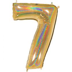 "GLITTER HOLO GOLD NUMBER 7 SHAPE 40"" PKT"