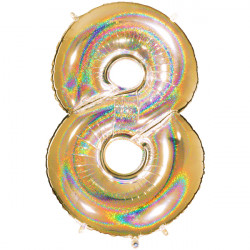 "GLITTER HOLO GOLD NUMBER 8 SHAPE 40"" PKT"