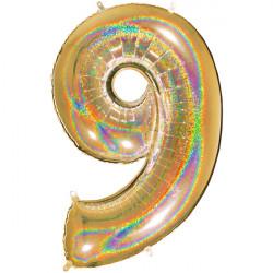 "GLITTER HOLO GOLD NUMBER 9 SHAPE 40"" PKT"