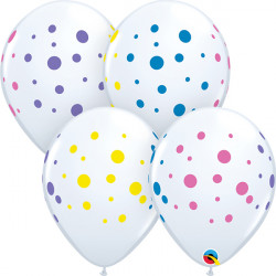 "COLOURFUL DOTS 11"" WHITE (50CT)"