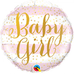 "STRIPES PINK BABY GIRL 18"" PKT"