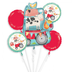 BARNYARD PARTY 5 BALLOON BOUQUET P75 PKT (3CT)