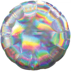 SILVER IRIDESCENT ROUND STANDARD HOLOGRAPHIC S40 FLAT A