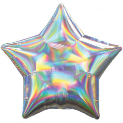 SILVER IRIDESCENT STAR STANDARD HOLOGRAPHIC S40 FLAT A