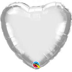 "SILVER CHROME HEART 18"" FLAT Q"