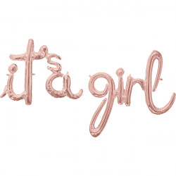 "IT'S A GIRL ROSE GOLD SCRIPT PHRASE SHAPE G50 PKT ('IT'S A' 27"" x 20"" / 'GIRL' 29"" X 30"")"