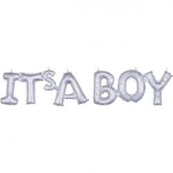 IT'S A BOY HOLO SILVER BLOCK PHRASE SHAPE G20 PKT