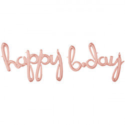 "HAPPY BDAY ROSE GOLD SCRIPT PHRASE SHAPE G50 PKT ('HAPPY' 39"" x 27"" / 'B.DAY' 39"" x 27"")"