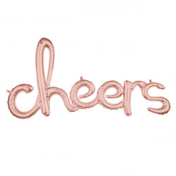 "CHEERS ROSE GOLD SCRIPT PHRASE SHAPE G40 PKT (40"" x 21"")"