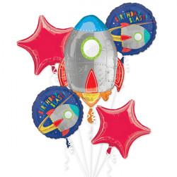 BLAST OFF BIRTHDAY 5 BALLOON BOUQUET P75 PKT (3CT)
