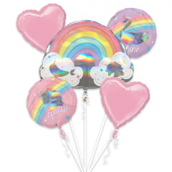 MAGICAL RAINBOW 5 BALLOON BOUQUET P75 PKT (3CT)