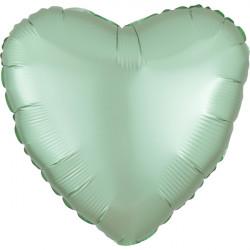 MINT GREEN SATIN LUXE HEART STANDARD S15 FLAT A