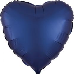 NAVY SATIN LUXE HEART STANDARD S15 FLAT A