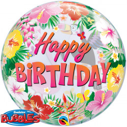 "TROPICAL PARTY BIRTHDAY 22"" SINGLE BUBBLE"