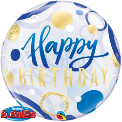 "BLUE & GOLD DOTS BIRTHDAY 22"" SINGLE BUBBLE"