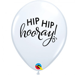 "SIMPLY HIP HIP HOORAY 11"" WHITE (25CT)"