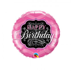 "PINK & BLACK BIRTHDAY 9"" INFLATED WITH CUP & STICK"