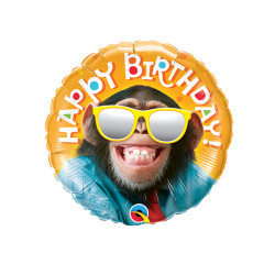 "SMILIN' CHIMP BIRTHDAY 9"" INFLATED WITH CUP & STICK"