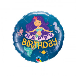 "MERMAID BIRTHDAY 9"" INFLATED WITH CUP & STICK"