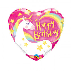 "MAGICAL UNICORN BIRTHDAY 9"" INFLATED WITH CUP & STICK"