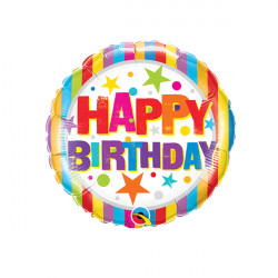 """STRIPES & STARS BIRTHDAY 9"""" INFLATED WITH CUP & STICK"""