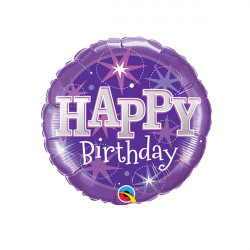 "SPARKLE PURPLE BIRTHDAY 9"" INFLATED WITH CUP & STICK"