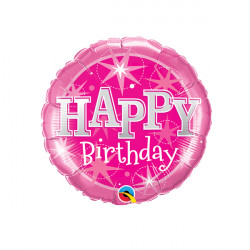 """SPARKLE PINK BIRTHDAY 9"""" INFLATED WITH CUP & STICK"""