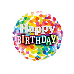 """RAINBOW CONFETTI BIRTHDAY 9"""" INFLATED WITH CUP & STICK"""