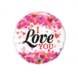 "CONFETTI HEARTS I LOVE YOU 9"" INFLATED WITH CUP & STICK"