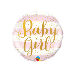 "PINK STRIPES BABY GIRL 9"" INFLATED WITH CUP & STICK"