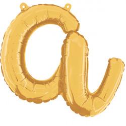 """GOLD SCRIPT LETTER A SHAPE 14"""" PKT"""