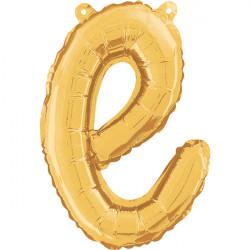 "GOLD SCRIPT LETTER E SHAPE 14"" PKT"