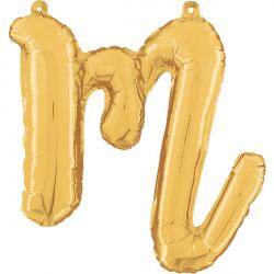 """GOLD SCRIPT LETTER M SHAPE 24"""" PKT"""