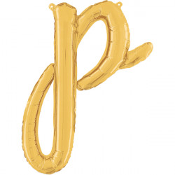 """GOLD SCRIPT LETTER P SHAPE 14"""" PKT"""