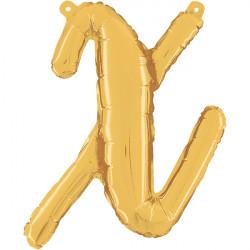 """GOLD SCRIPT LETTER X SHAPE 14"""" PKT"""