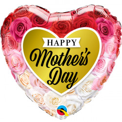 "ROSES GOLD HEART MOTHER'S DAY 18"" PKT"