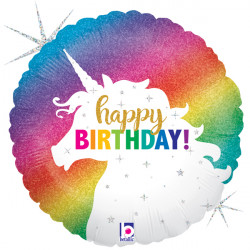 "UNICORN GLITTER BIRTHDAY 18"" PKT"