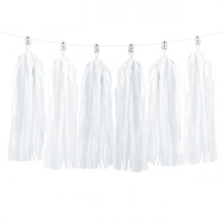 TASSLE GARLAND WHITE (12 TASSLES 1.5M)